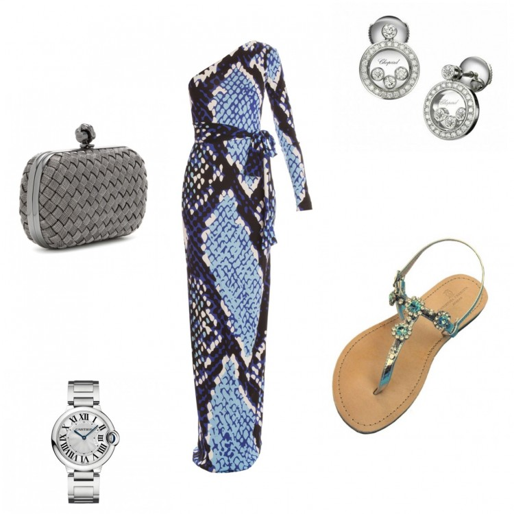DvF Maxi Dress - Bottega Veneta clutch - Chopard earrings - Cartier watch